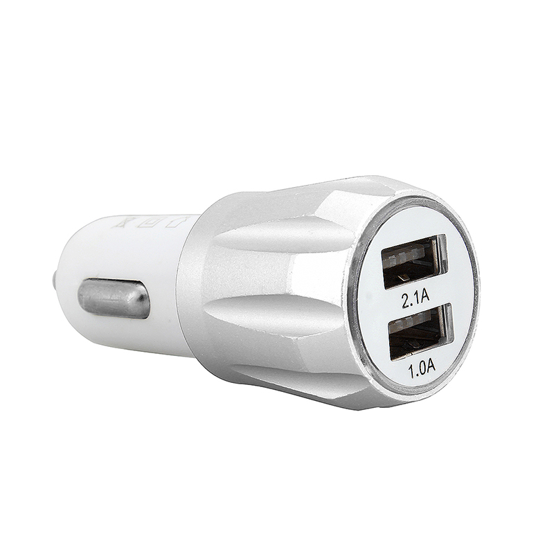 Car Charger Adaptor Dual USB Crown Design - Silver