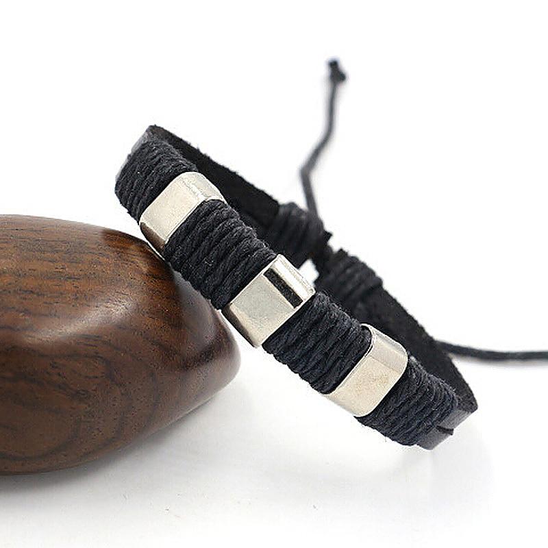 Men's Braid Leather Vintage Bracelet Wristband Bangle - Black