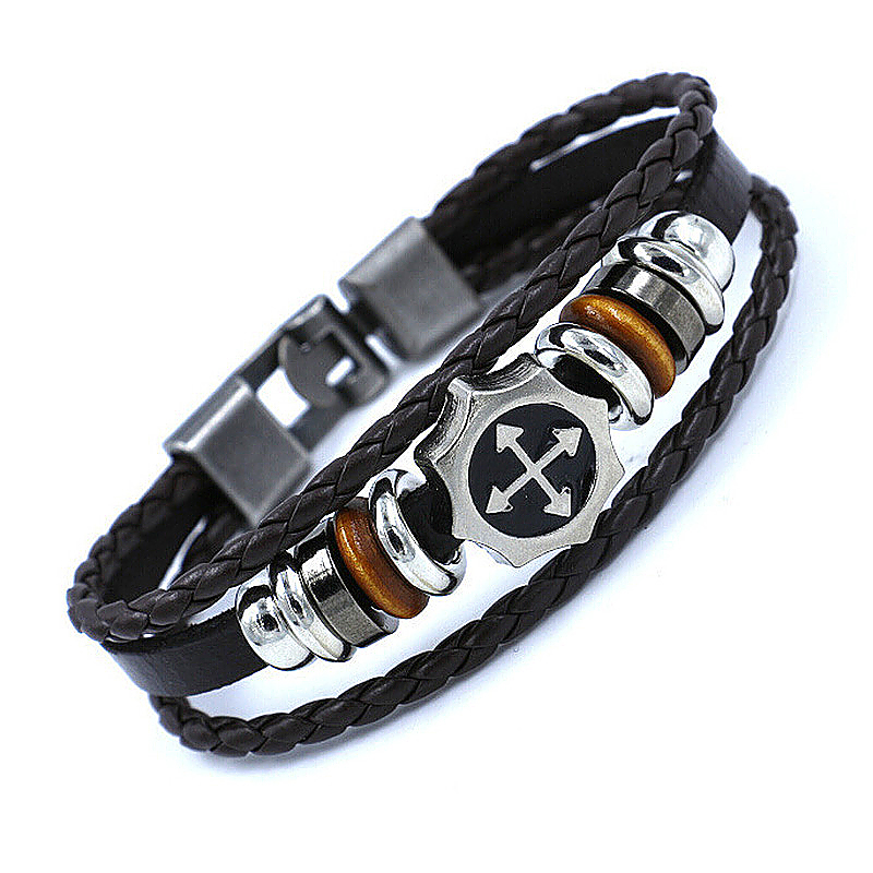 PU Leather Bracelet with Beads Braided for Couples - Brown