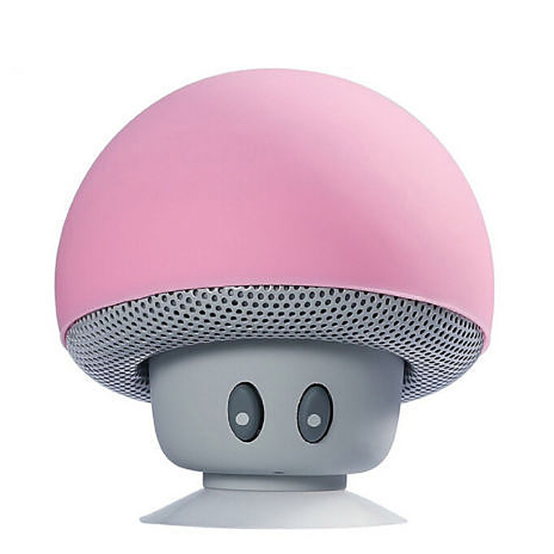 Small Mushroom Wireless Speaker Bluetooth Audio Receiver with Sucker for Phones - Pink