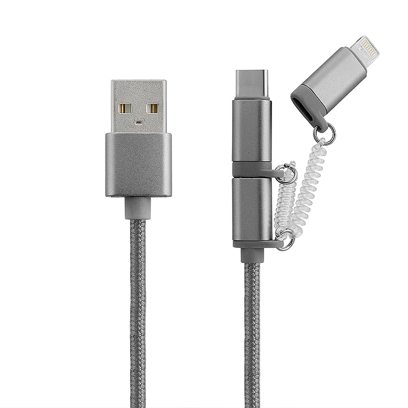3 in 1 Knit Multifunction Charging Data Cable for IOS Android Type-C Device - Gray