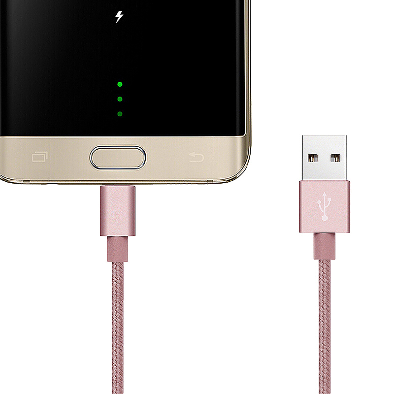1m Knit Braid USB Data Sync Charging Cable for Samsung Android Phones - Rose Gold