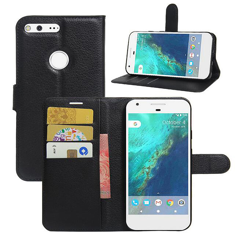 Fashion Litchi Leather Slot Wallet Stand Cover Case for Google Pixel - Black