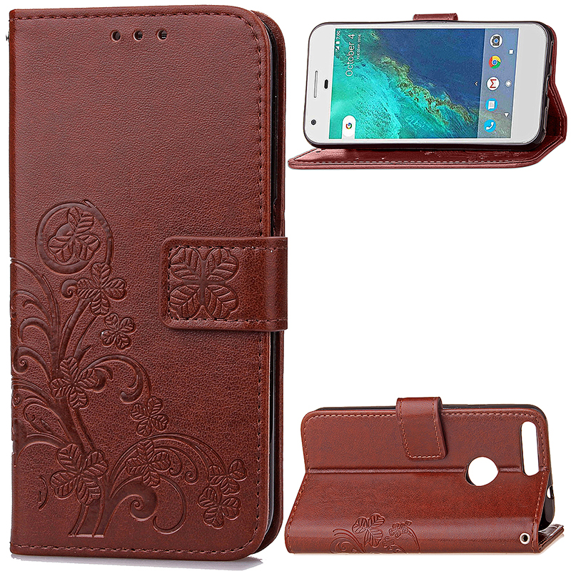 Four Leaf Clover Leather Slot Wallet Stand Cover Case for Google Pixel XL - Brown