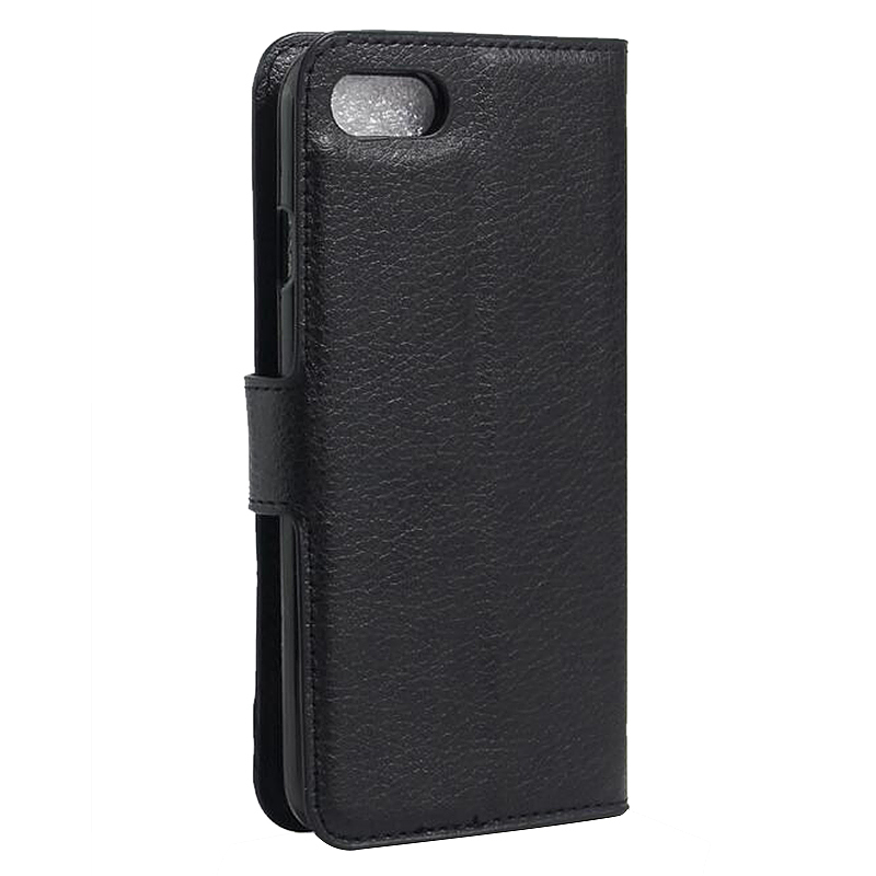 Fashion Litchi Leather Slot Wallet Stand Cover Case for iPhone 7 - Black