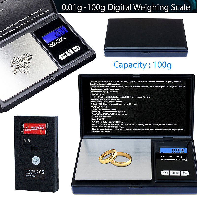 Small Mini Jewelry Digital Electronic Weighing Scale 0.01g-100Gram