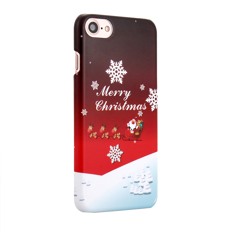 Christmas Xmas Hard PC Festive Dog Sledding Phone Case Cover for iPhone 7
