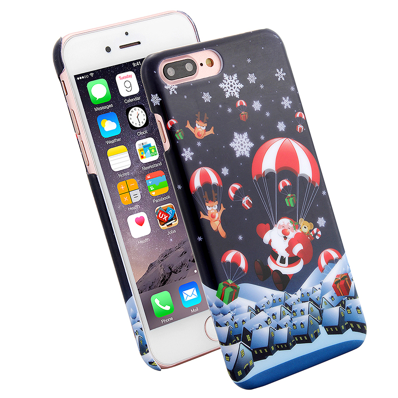 Christmas Xmas Hard PC Festive Santa Claus Phone Case Cover for iPhone 7 Plus