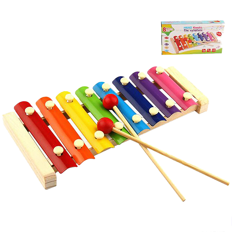 Kids 8 Note Xylophone Wooden Musical Instrument Educational Toy Gift