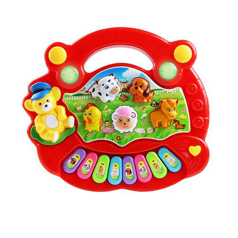 Baby Kids Musical Educational Animal Farm Piano Developmental Music Toy - Red