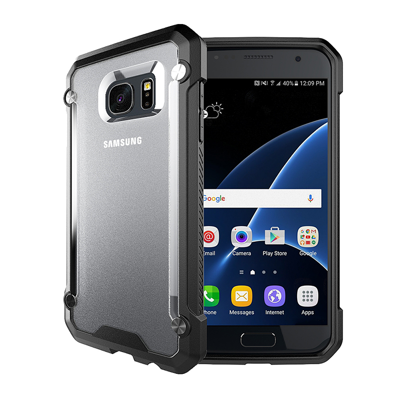 Hybrid Shockproof Hard PC Back Plate with TPU Gel Bumper Case for Samsung S7 - Black
