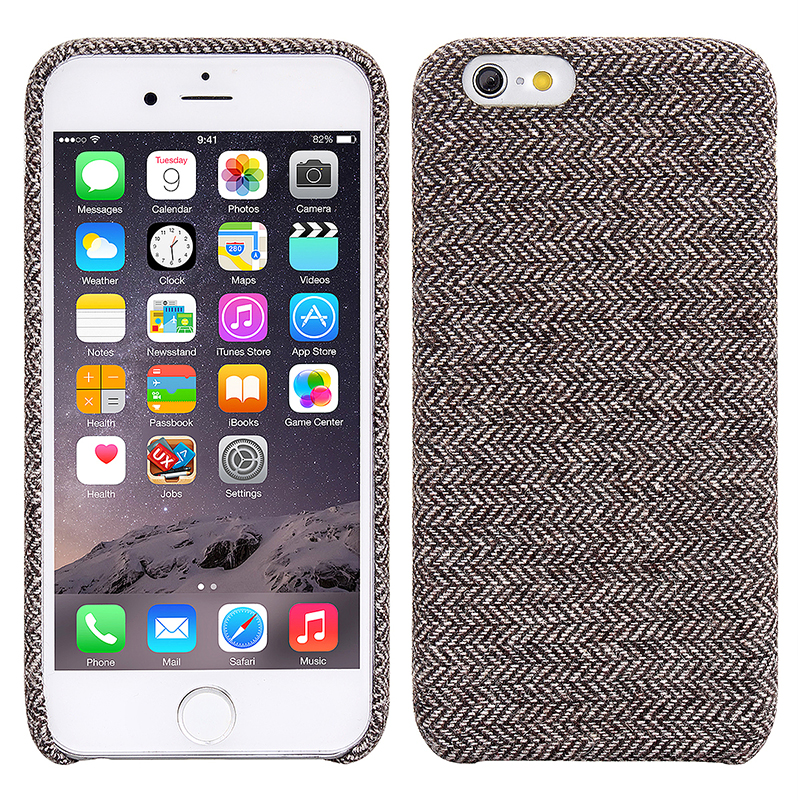 Retro England Grid Print Canvas Slim Hybrid Protective Case Cover for iPhone 6/6S - Gray