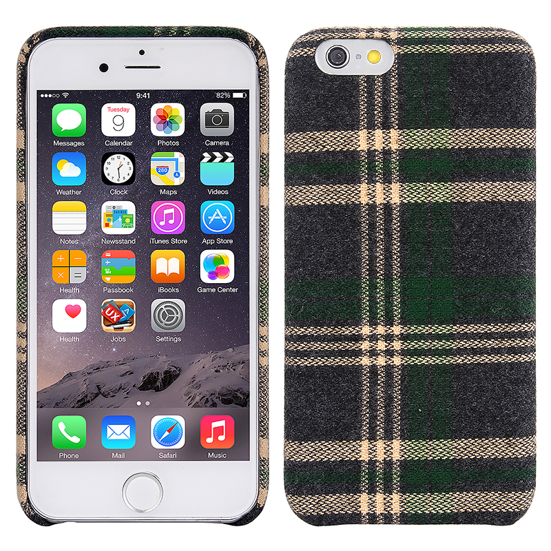 Vintage British Grid Hard Cover Case for Apple iPhone 6/6S Plus - Green