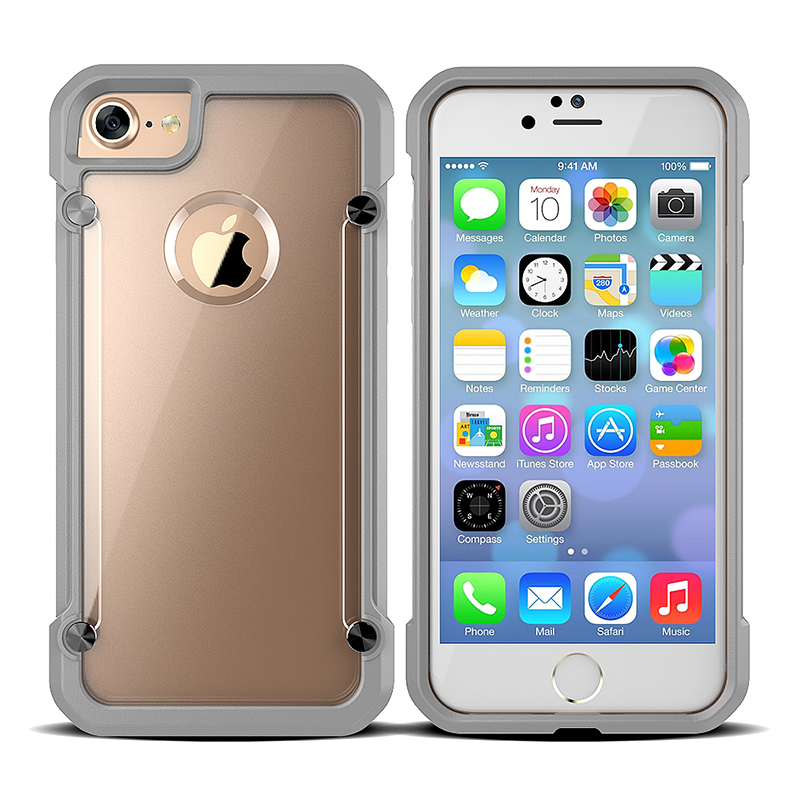 Shockproof Slim Hard PC Case Soft TPU Bumper Back Cover for iPhone 7 - Gray