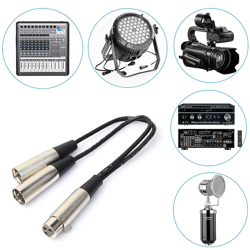 XLR Audio Cable 3 Pin Female to Dual Male Cable for Connect Microphones Speakers