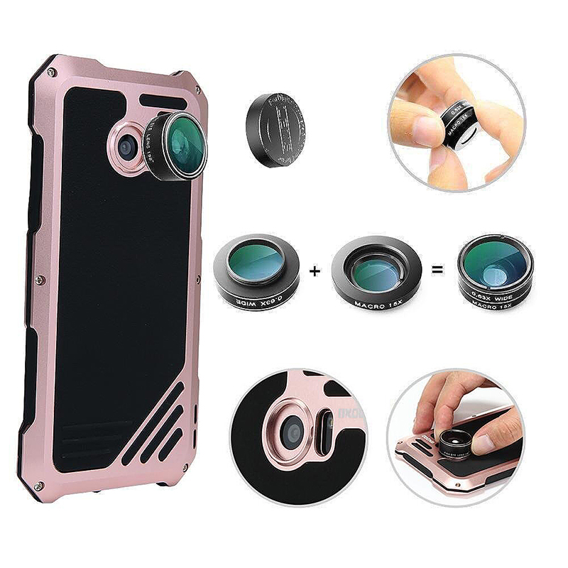 Shockproof Metal Leather Case with Camera Fisheye Lens for Samsung S7 Edge - Rose Gold