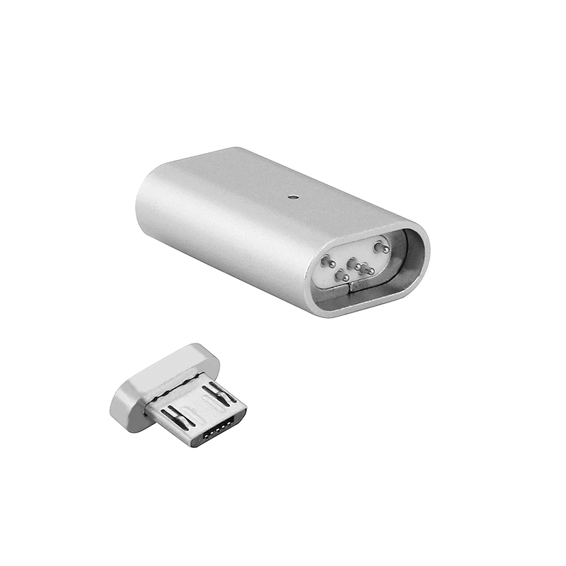 Micro USB to Micro USB Magnetic Charging Cable Adapter Lead for Samsung Android HTC - Silver