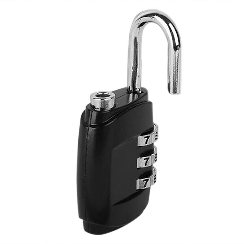 3 Code Security Lock Password Combination Padlock for Travel Suitcase Bag - Black