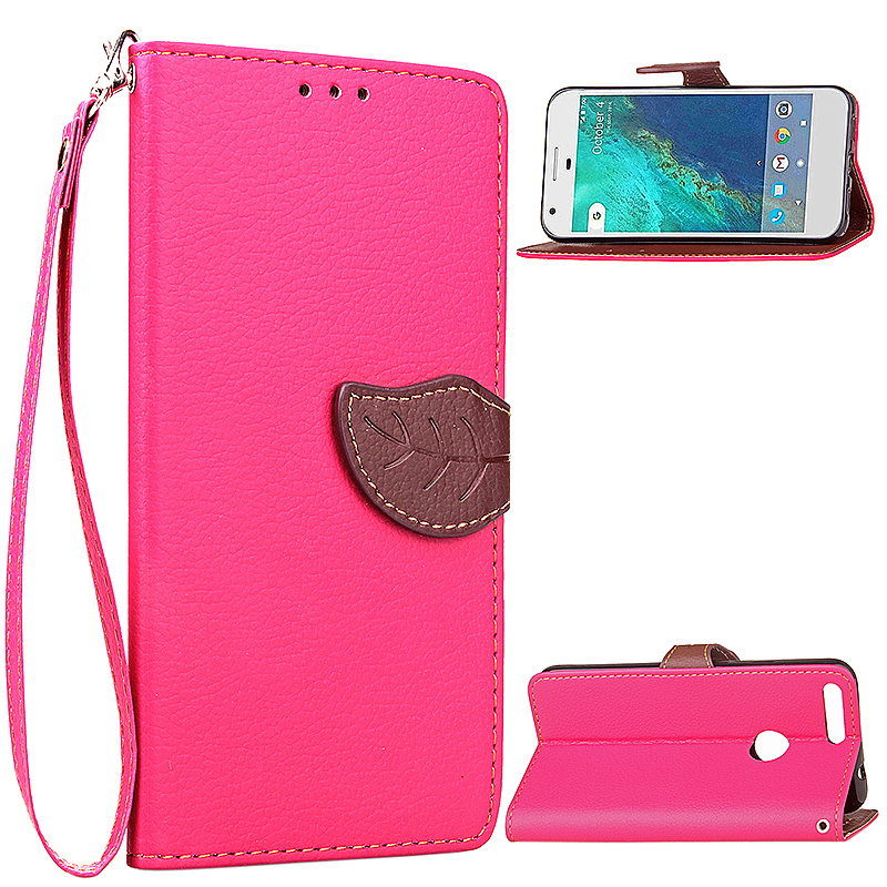 Leaf Printed Wallet PU Leather Case Card Slot Phone Cover for Google Pixel - Rose Red