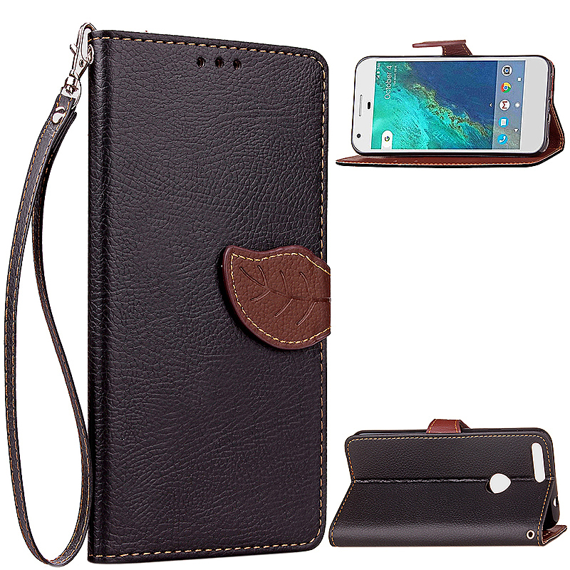 Leaf Printed Wallet PU Leather Case Card Slot Phone Cover for Google Pixel XL - Black