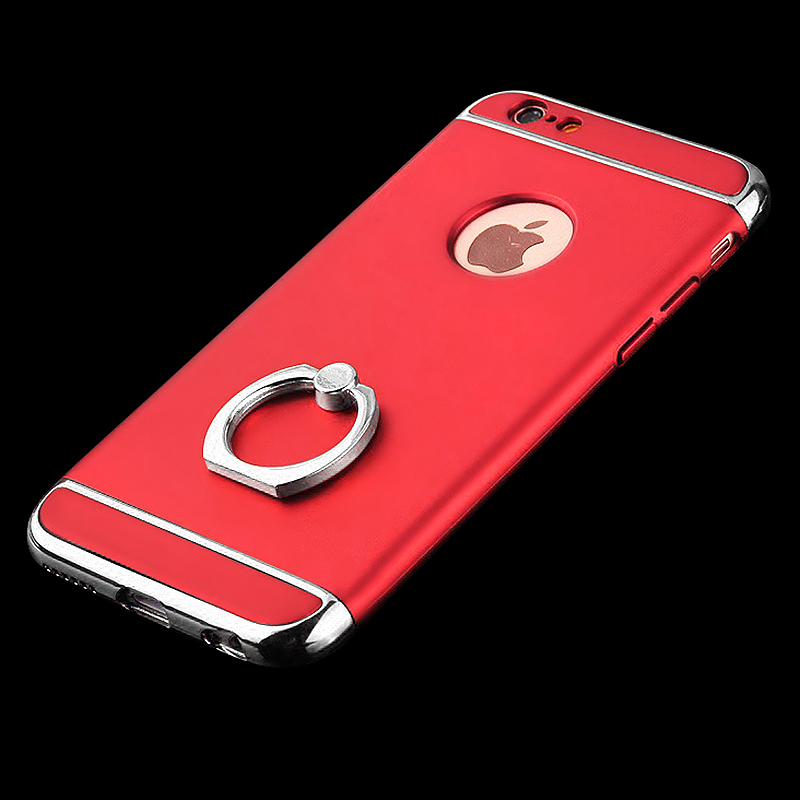 3 in 1 Frosted Hard PC Case Cover with Metal Ring Holder for iPhone 6/6S - Red