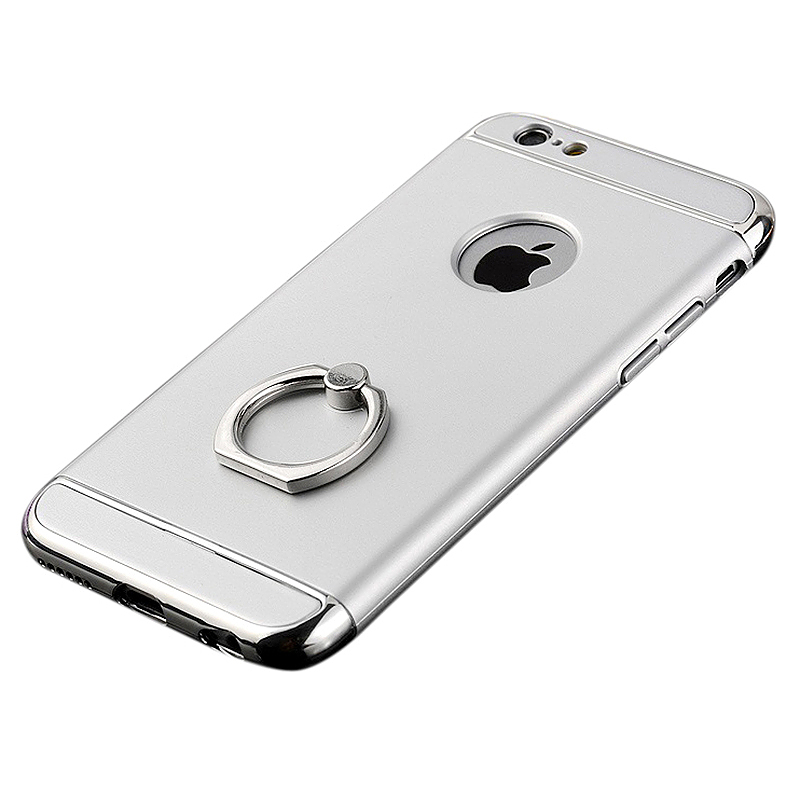 5.5 Inch Frosted 3 in 1 PC Case with Metal Ring Holder for iPhone 6/6S Plus - Silver