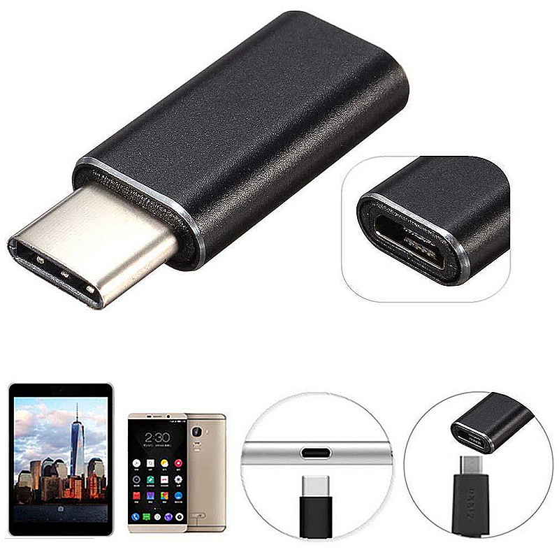 USB 3.1 Type-C Male Connector to Micro USB Female Aluminum Alloy Adapter - Black