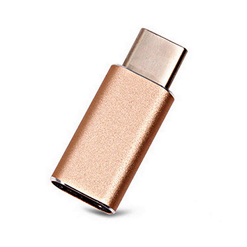 USB 3.1 Type-C Male Connector to Micro USB Female Aluminum Alloy Adapter - Gold