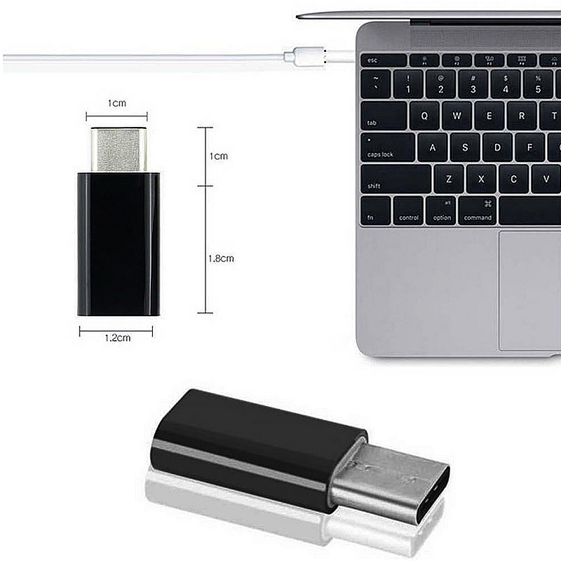 Type-C Male 3.1 to Micro USB Female Converter USB-C Adapter - Black