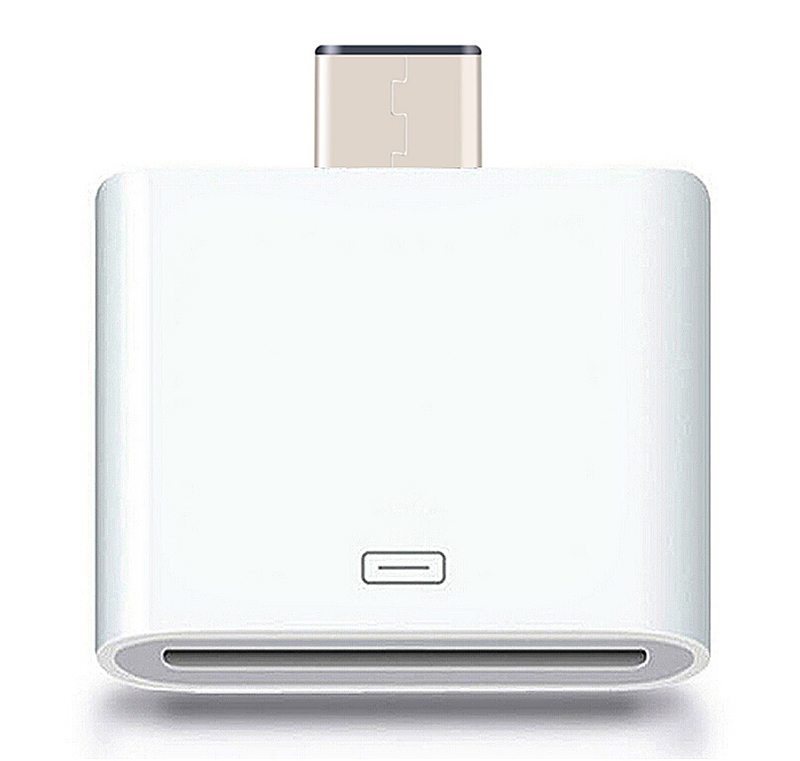 Apple 30Pin Female to USB 3.1 Type-C USB-C Male Adapter Connector - White