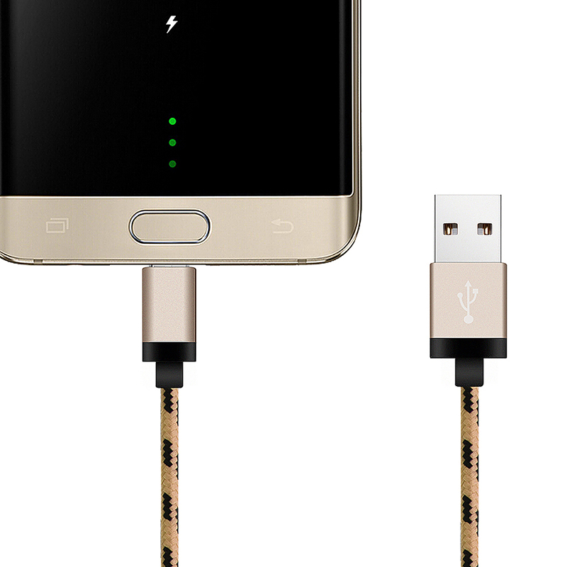 3m Micro USB Weave Braid Data Charge Cable with Aluminum Alloy Connector - Gold