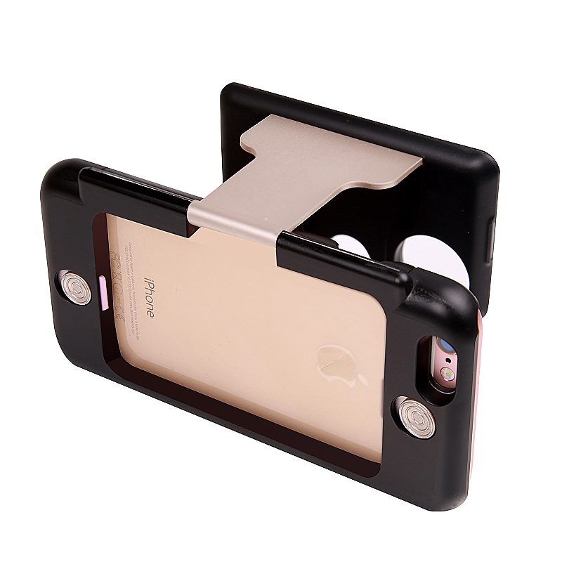 3D Portable VR Virtual Reality Glasses Stand Phone Case for iPhone 6 6S - Gold