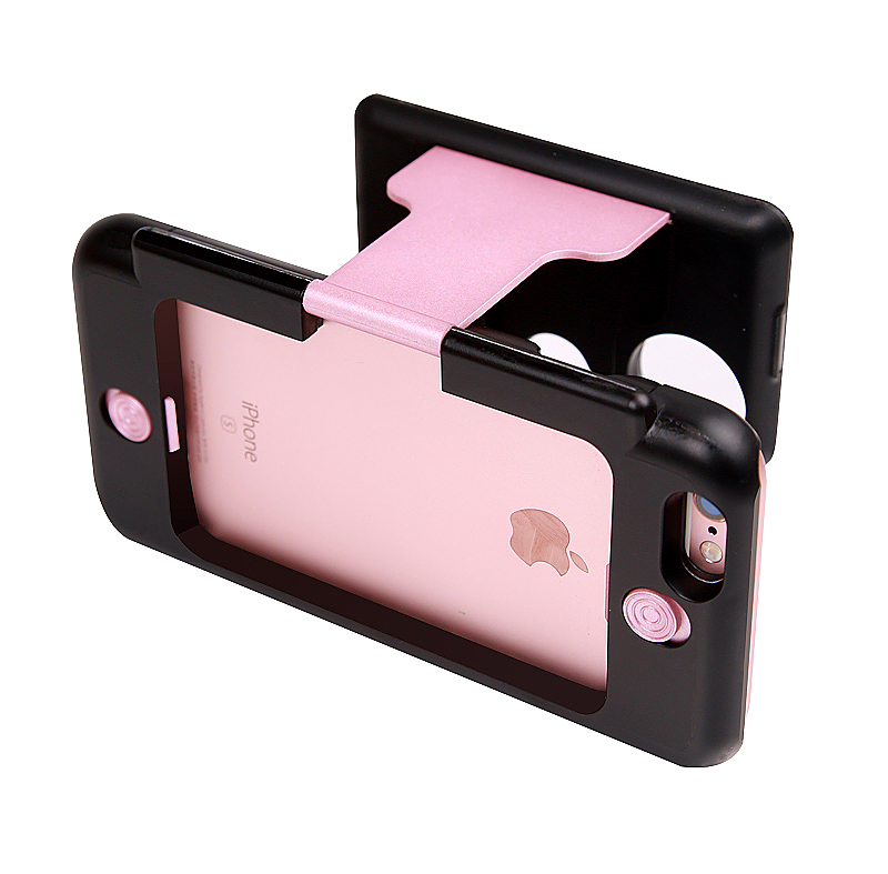 3D Portable VR Virtual Reality Glasses Stand Phone Case for iPhone 6 5.5 6S Plus - Rose Gold