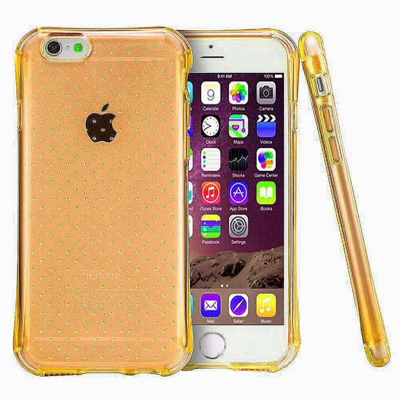 Transparent Dot Anti-Slip Bumper Case TPU Skin for iPhone 6 6S - Orange
