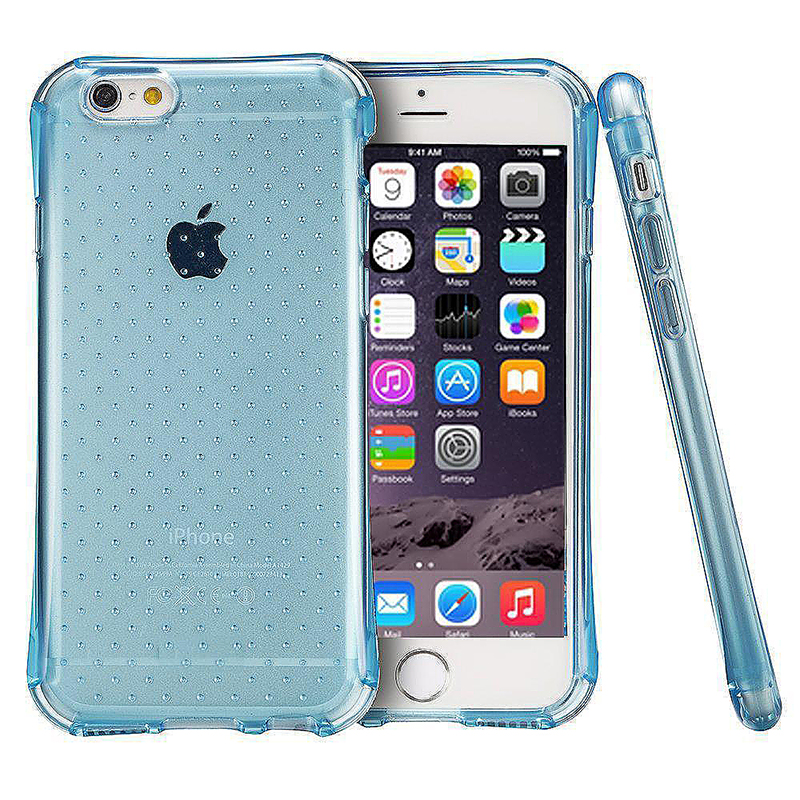 Transparent Dot Anti-Slip Bumper Case TPU Skin for iPhone 6 Plus 6S Plus - Blue