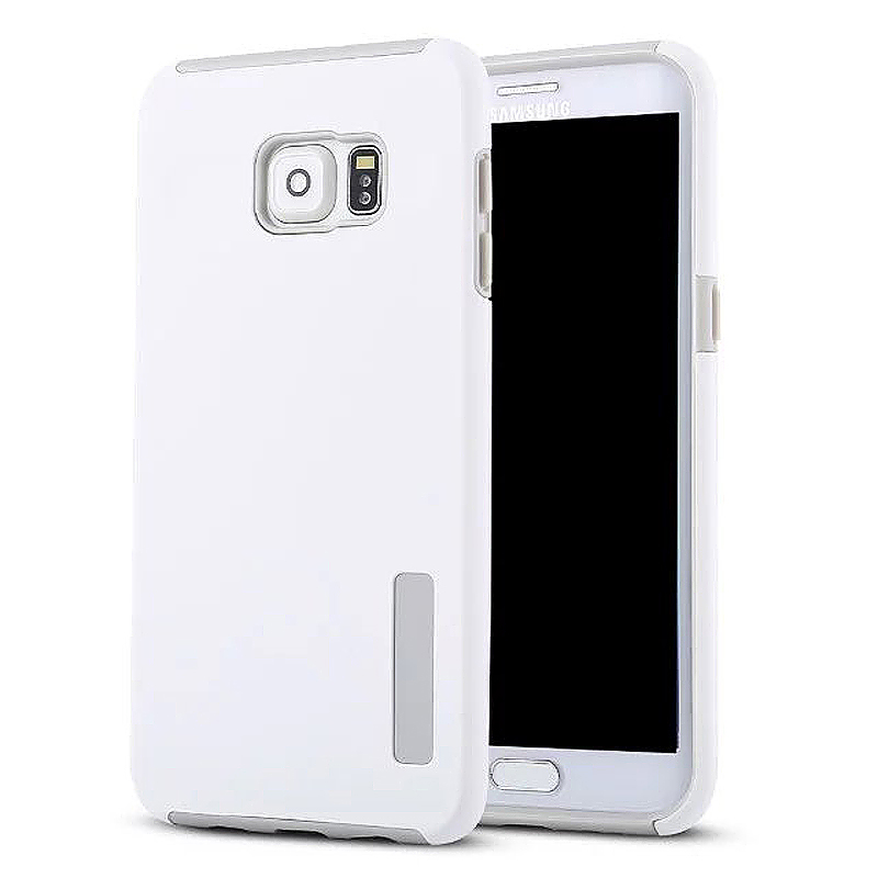 High Quality 2-in-1 Frosted PC TPU Shell Case Cover for Samsung S6 Edge Plus - White