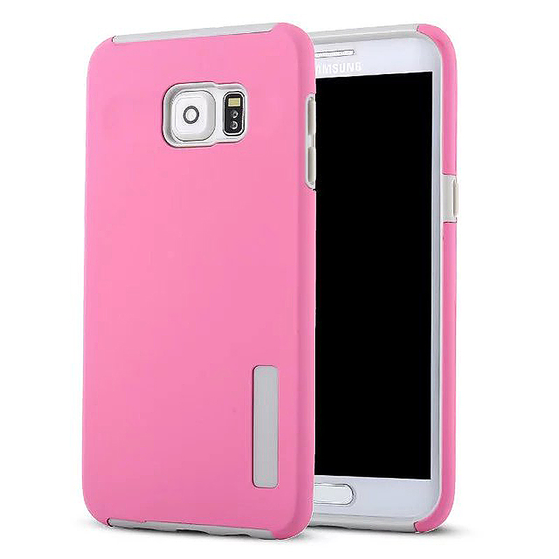 High Quality 2-in-1 Frosted PC TPU Shell Case Cover for Samsung S6 Edge Plus - Pink