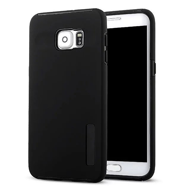 High Quality 2-in-1 Frosted PC TPU Shell Case Cover for Samsung S6 Edge Plus - Black