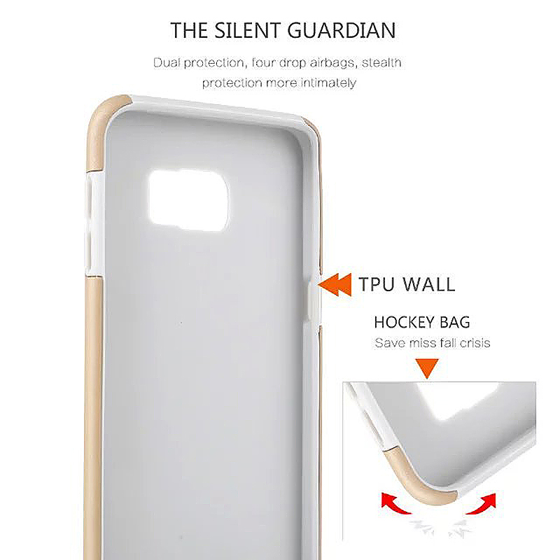 High Quality 2-in-1 Frosted PC TPU Shell Case Cover for Samsung S6 Edge - White