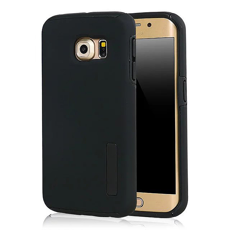 High Quality 2-in-1 Frosted PC TPU Shell Case Cover for Samsung S6 Edge - Black