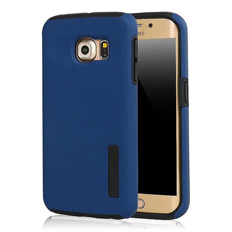 High Quality 2-in-1 Frosted PC TPU Shell Case Cover for Samsung S6 Edge - Blue