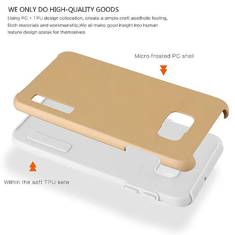 High Quality 2-in-1 Frosted PC TPU Shell Case Cover for Samsung S6 Edge - Beige