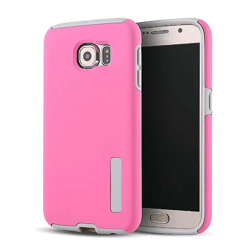 High Quality 2-in-1 Frosted PC TPU Shell Case Cover for Samsung S6 - Pink