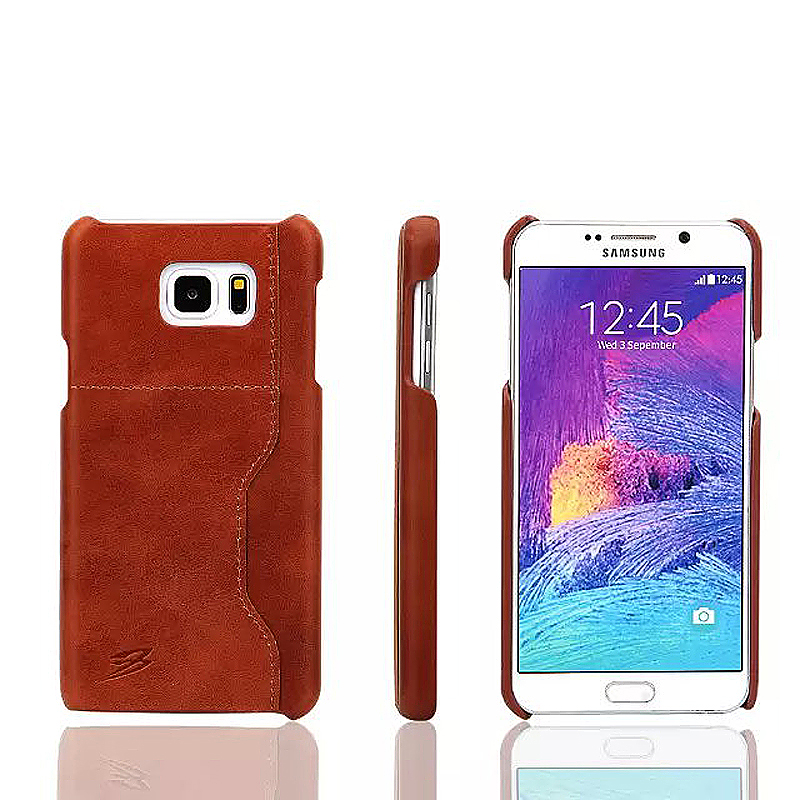Vintage Wax Leather Back Cover Case with Pocket for Samsung Note 5 - Dark Brown