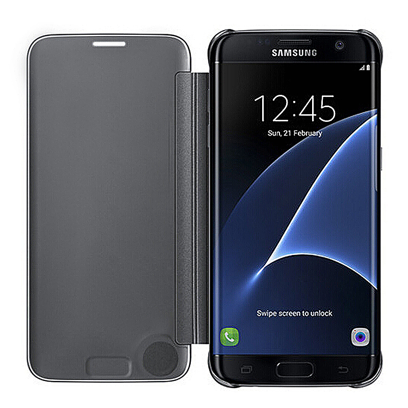 Mirror Effect Flip Smart Case Cover for Samsung Galaxy S7 - Blue