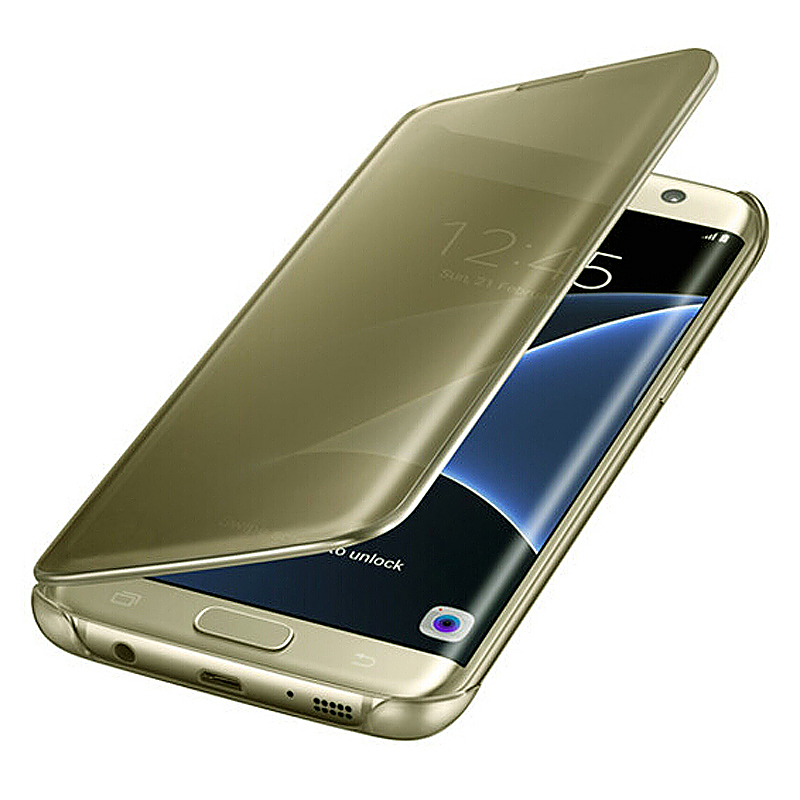 Mirror Effect Flip Smart Case Cover for Samsung Galaxy S7 Edge - Gold