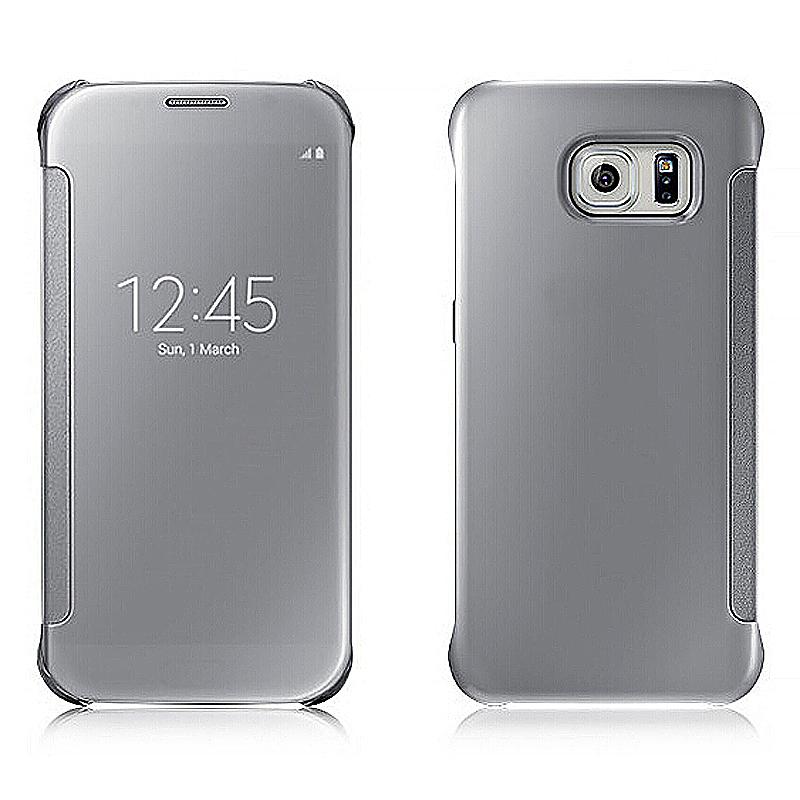 Mirror Effect Flip Smart Case Cover for Samsung Galaxy S7 Edge - Silver