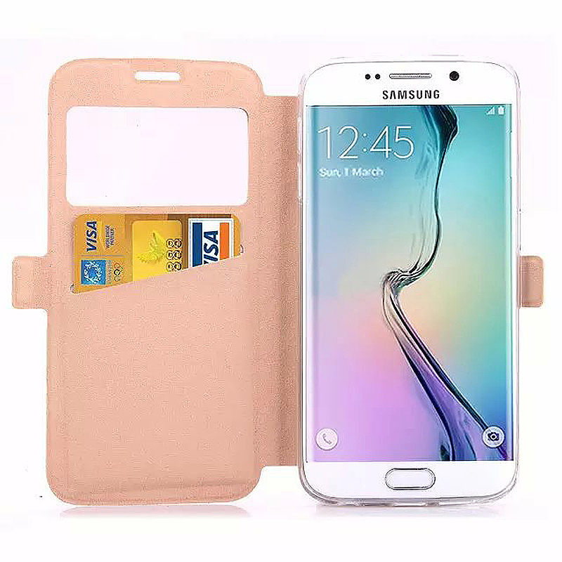 Opening Window Magnetic Stand Flip Leather Case Cover for Samsung S6 Edge Plus - Gold