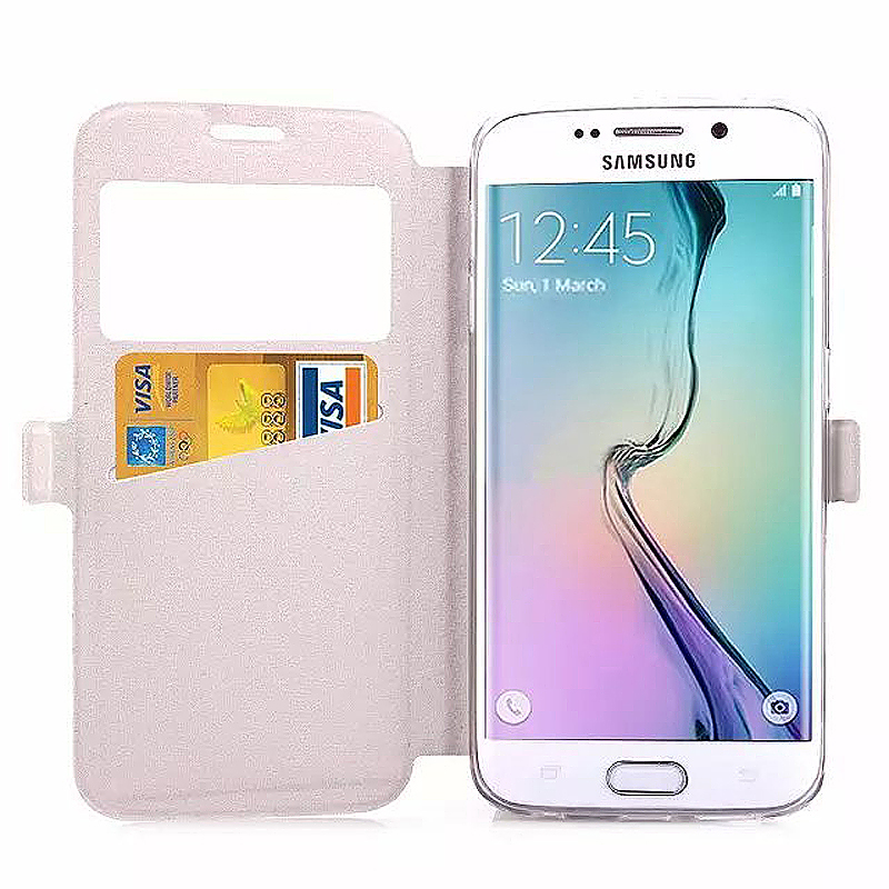 Opening Window Magnetic Stand Flip Leather Case Cover for Samsung S6 Edge Plus - White