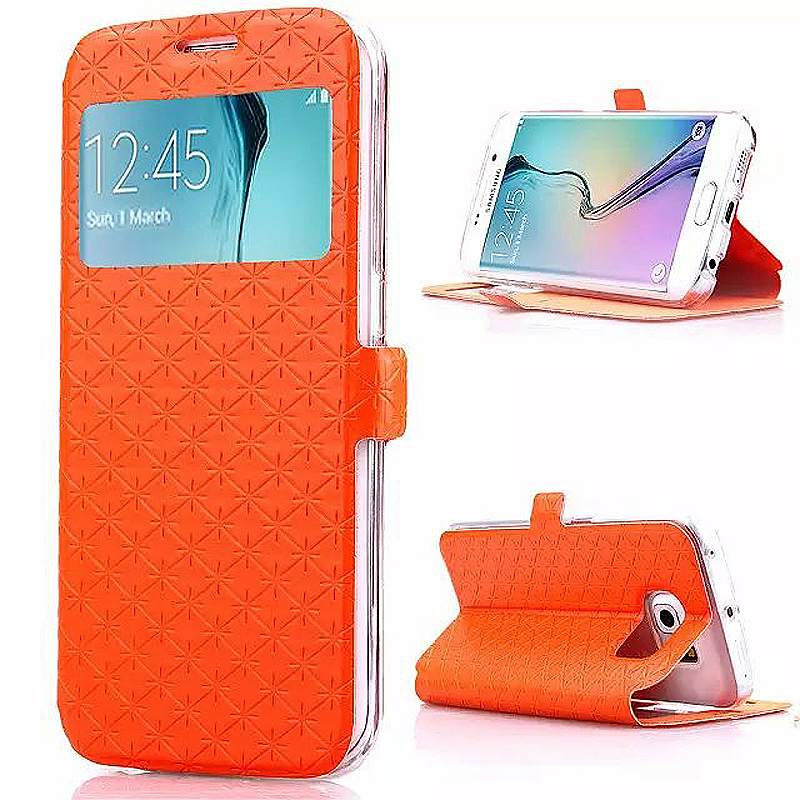 Opening Window Magnetic Stand Flip Leather Case Cover for Samsung S6 Edge Plus - Orange